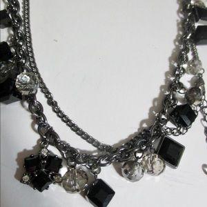 Simply Vera Long Necklace Black Beads Rhinestones